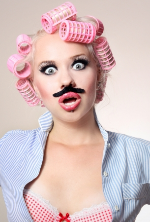 Attractive girl with mustache  Stock Photo