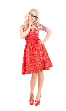 jokes: Pretty pin-up girl Stock Photo