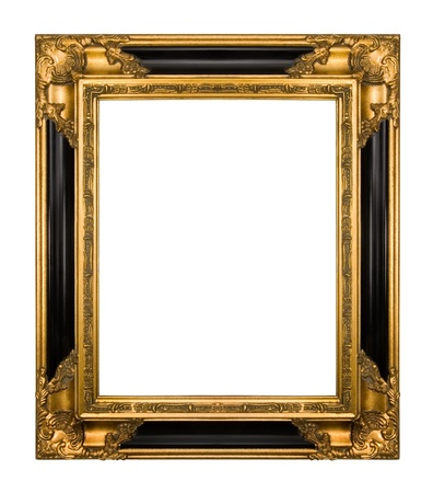 Antique gold frame isolated  photo