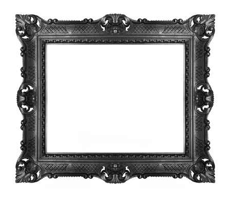 gothic revival style: Antique black frame isolated Stock Photo