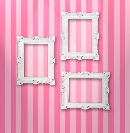 arte moderno: Conjunto de marcos ornamentales blancas en un fondo de rayas Foto de archivo