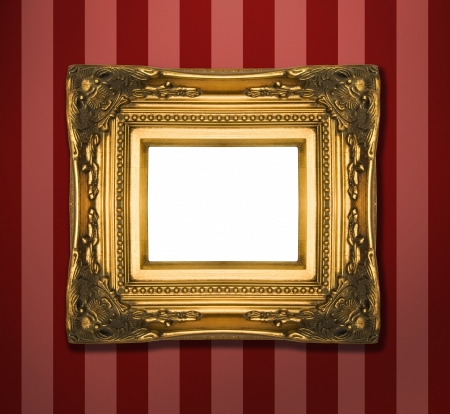 Gold frame on a stripy wall photo
