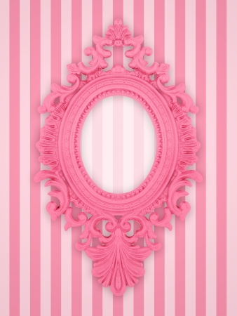 pink: Beautiful ornamental frame on a pink stripy background Stock Photo