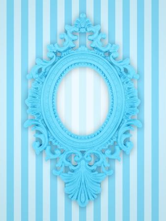 Beautiful ornamental frame on a stripy background  photo