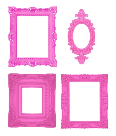 Set of pink ornamental frames  photo