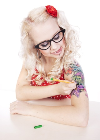 pinup girl: DIY tattoo Stock Photo