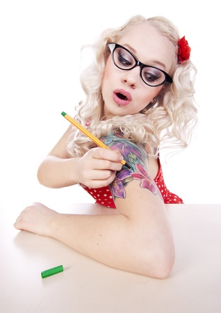 pin up: DIY tattoo Stock Photo