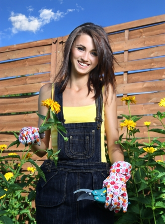Cheerful girl in the garden photo