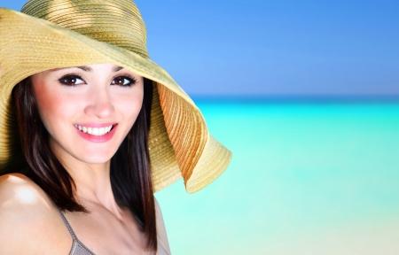 woman bathing: Beautiful girl on a tropical beach Stock Photo