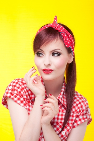 rockabilly: Portrait of an attractive girl looking left  Stock Photo