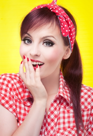rockabilly: Surprised pin up girl - retro style portrait