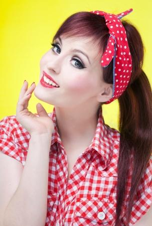 headband: Cheerful pin up girl - retro style portrait  Stock Photo