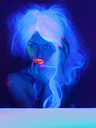 fantasy makeup: Fairy tale portrait in uv light