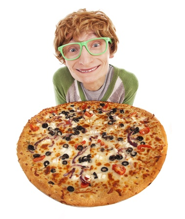 Funny guy with pizza  photo