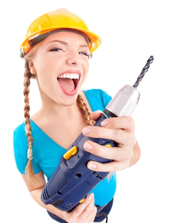 Energetic woman with drill photo