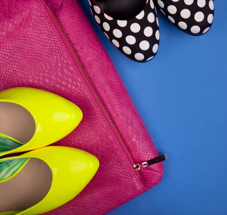 Colorful high heels and snakeskin print bag Stock Photo - 18473215