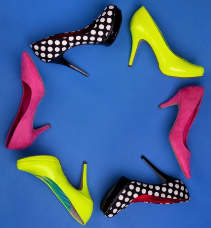 Colorful high heels frame photo