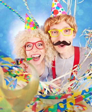 Funny nerdy couple celebrating Stock Photo - 19379465