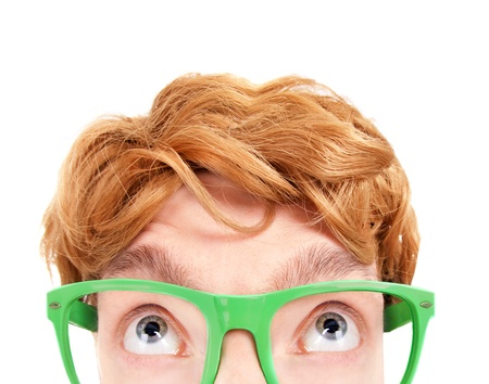 Funny nerdy guy looking up  Stock Photo - 19379464