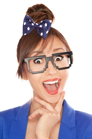 mad girl: Photo of a funny surprised nerdy girl wearing 8 bit glasses