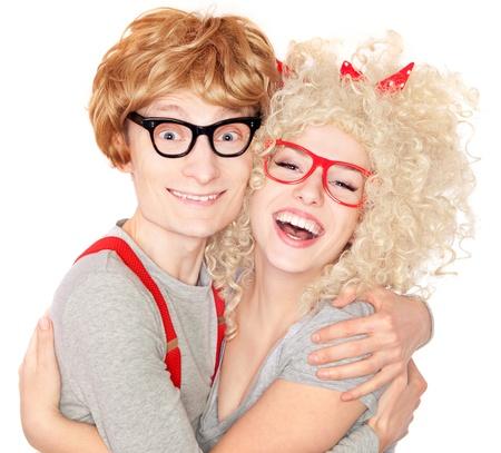 nerdy: Happy nerdy couple embracing