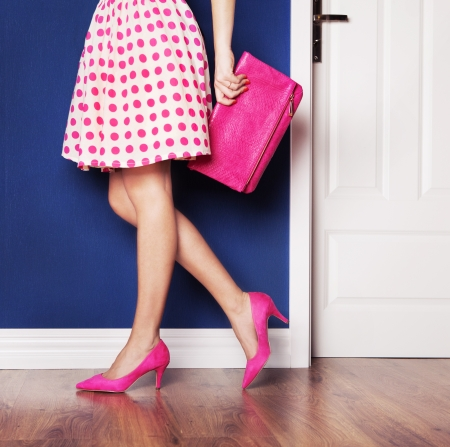 shoe: Walking out concept, girl dressed in pink Stock Photo