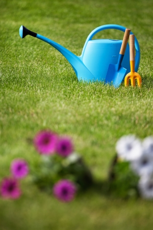 the well groomed: Gardening tools on a freshly cut well groomed grass