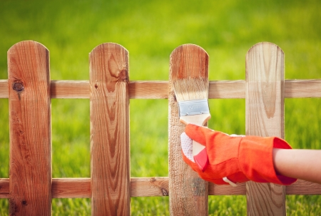 yard work: Applying protective varnish to a wooden fence  Stock Photo