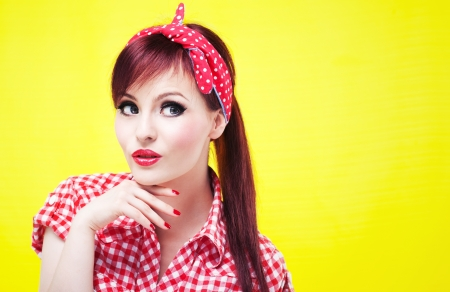 rockabilly: Portrait of an attractive girl looking up
