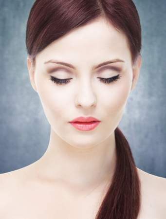 closed eye: Attractive woman with perfect skin, eyes closed Stock Photo
