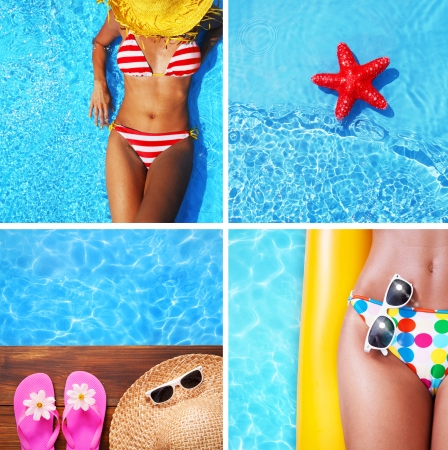 girls at the beach series: Set of summer holiday images