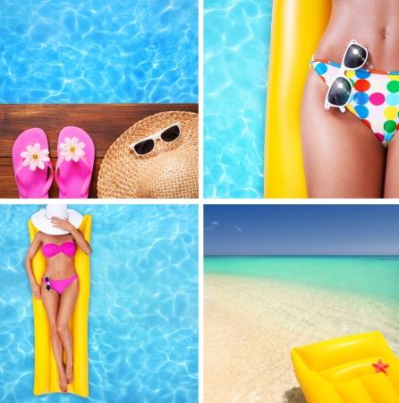 multiplicar: Conjunto de imágenes de vacaciones de verano Foto de archivo