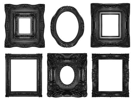 gothic revival style: Black ornate frames  Stock Photo