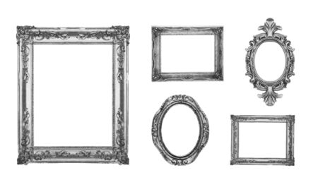Vintage silver ornate frames, some chipped and rusty photo