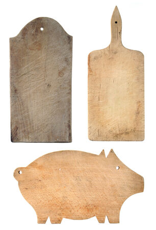 Set of worn chopping boards - wooden textures photo