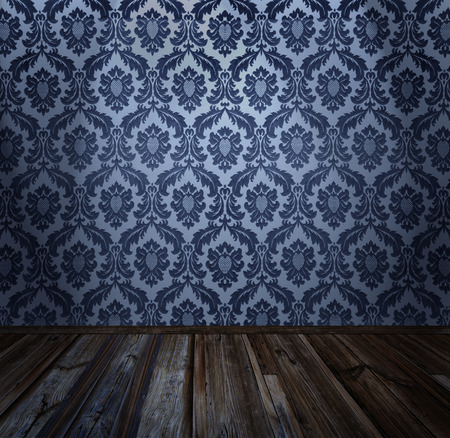 Room interior - vintage wallpaper, wooden floor, similar available in my portfolio Stock Photo