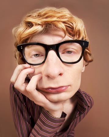 nerdy: Sad nerdy guy Stock Photo