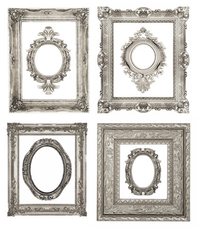 Set of ornamental silver frames photo