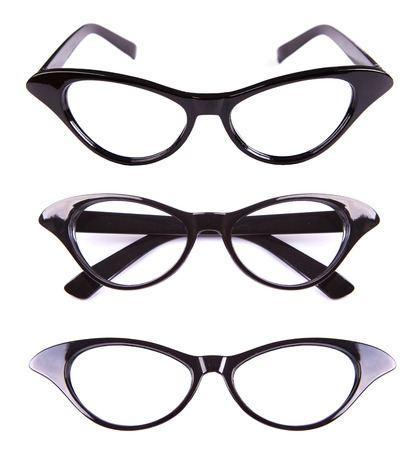 black eyes: Cat eyes shaped retro glasses isolated on white Stock Photo