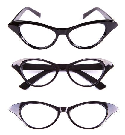 eye wear: En forma de ojos de gato gafas retro aislados en blanco Foto de archivo