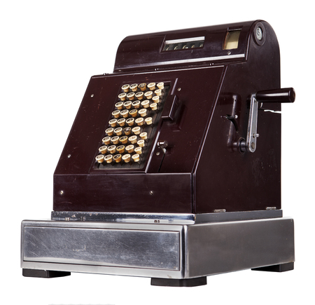 checkout button: Old cash register isolated on white Stock Photo