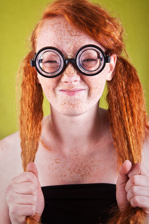 red haired girl: Funny nerdy girl
