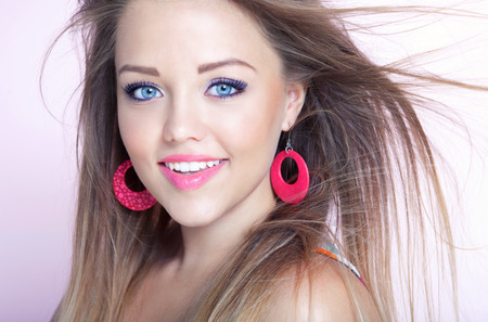 close up: Young attractive cheerful woman, beauty style concept