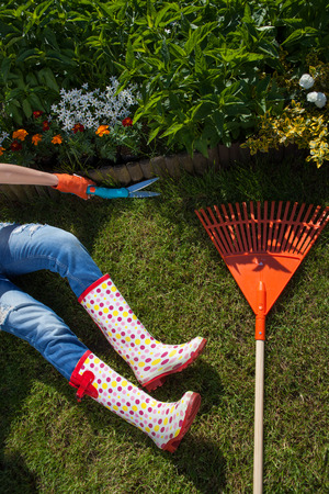 concep: Woman with shears cutting grass, gardening concep Stock Photo