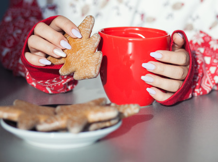 drink food: Close up of womans hands holding cup of hot coffee drink. Christmas gingerbread on the table. Winter chill out and lifestyle concept Stock Photo