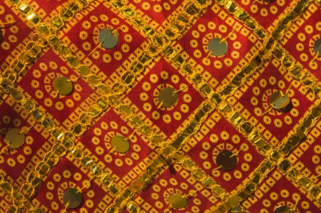 indian fabric: Traditional Indian fabric with sequined ornaments Stock Photo
