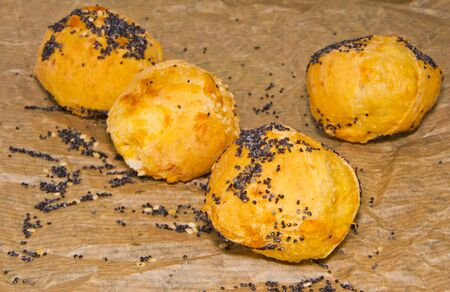cheese profiteroles sprinkled with poppy seeds on a baking paper photo