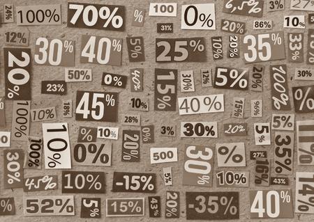 dividends: PERCENTAGES background made up of cut figures