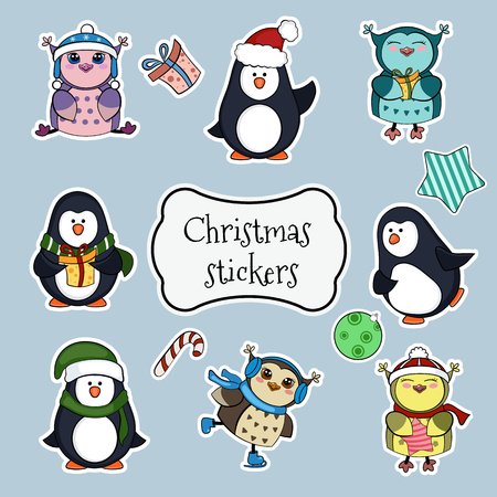 christmas owl: Collection of christmas stickers. EPS 10 vector illustration for Christmas design.
