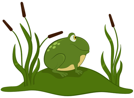 croaking: Green frog cartoon sitting on the grass.